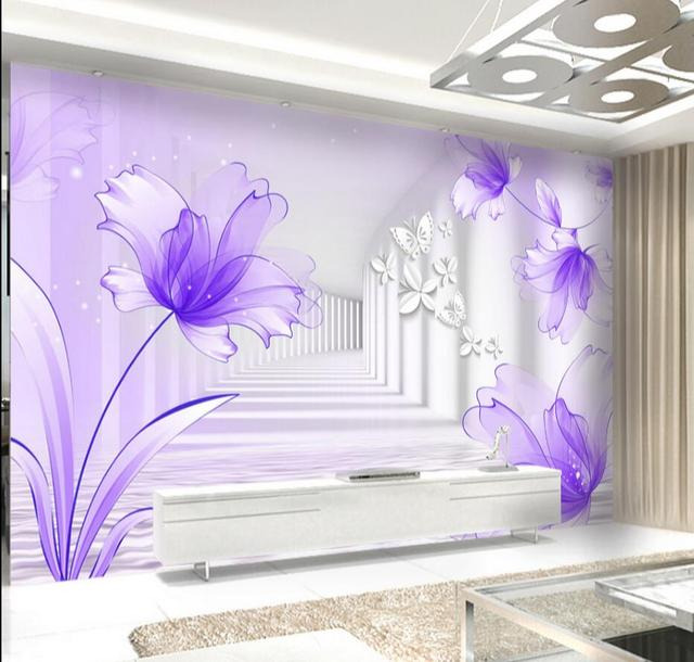 3D Abstract Purple Flower Butterfly Wallpaper For Walls 3d Printing Wall Paper Roll Murals