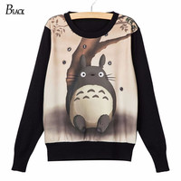 New Fashion Black Totoro Print Harajuku T Shirt Vrouwen Tops Tees Zomer Clothing Meisjes Grote Size