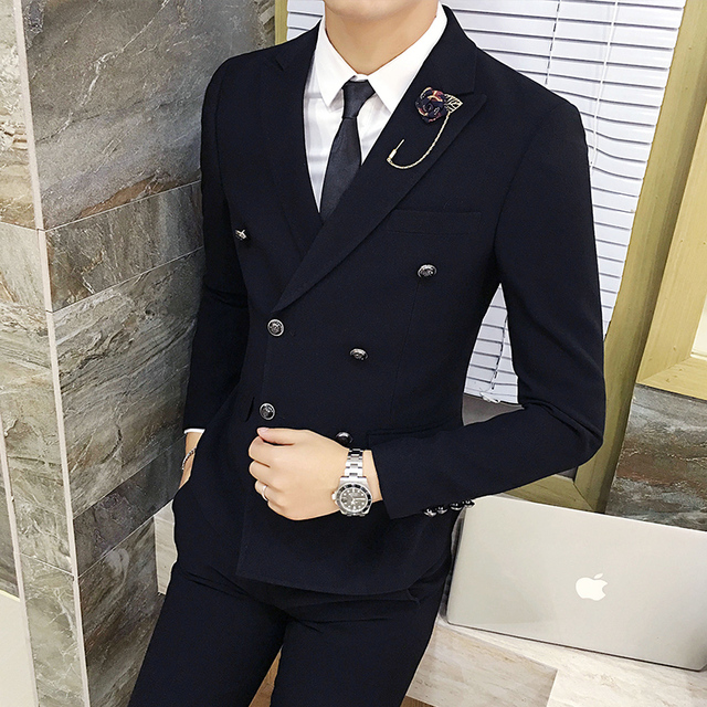 free shipping Korean fashion men's suits three piece set bar business casual double breasted men terno masculino short suit set