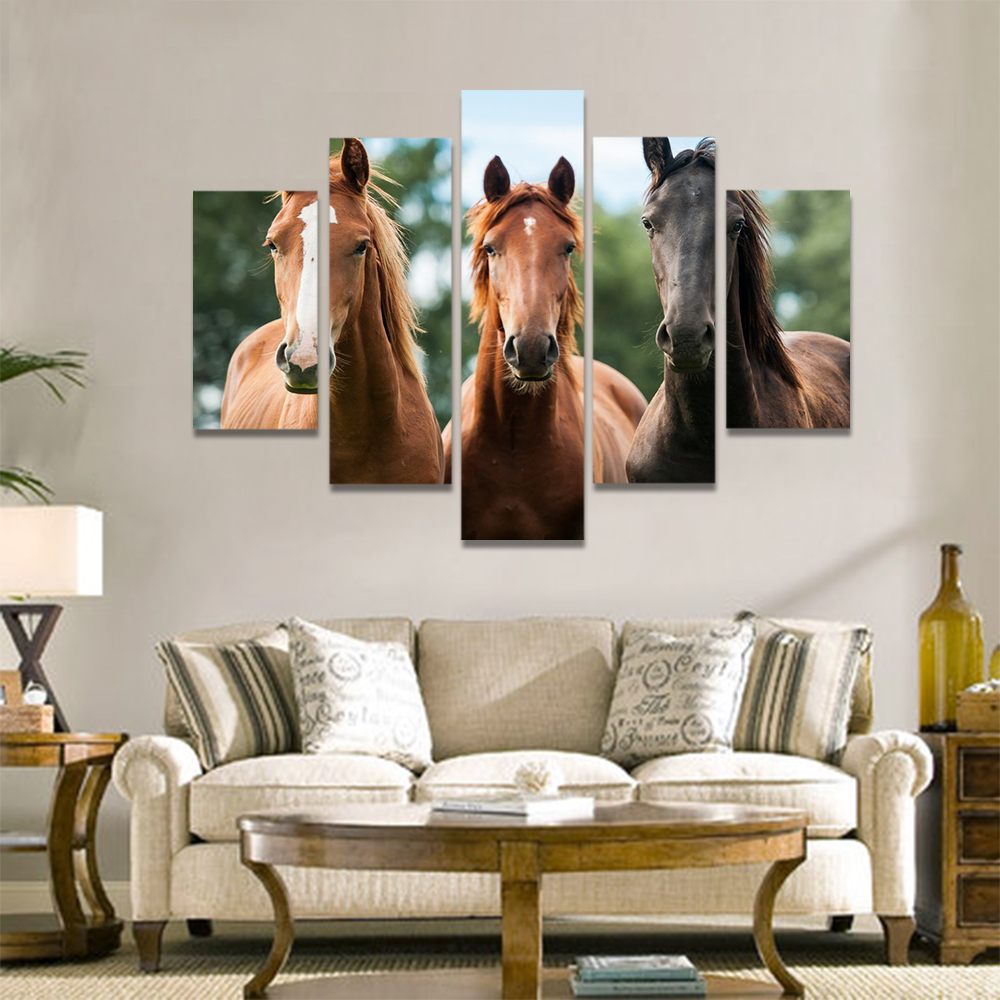 Unframed Canvas Animal Painting Three Horses Racecourse Prints Wall Picture For Living Room Wall Art Decoration Dropshipping