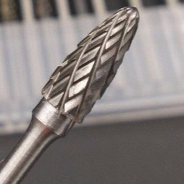 Cône rotatif perceuse ensemble 10pc 1/8 tige carbure de tungstène fraise diamant foret 6mm diamètre pour fer/acier/acier au carbone