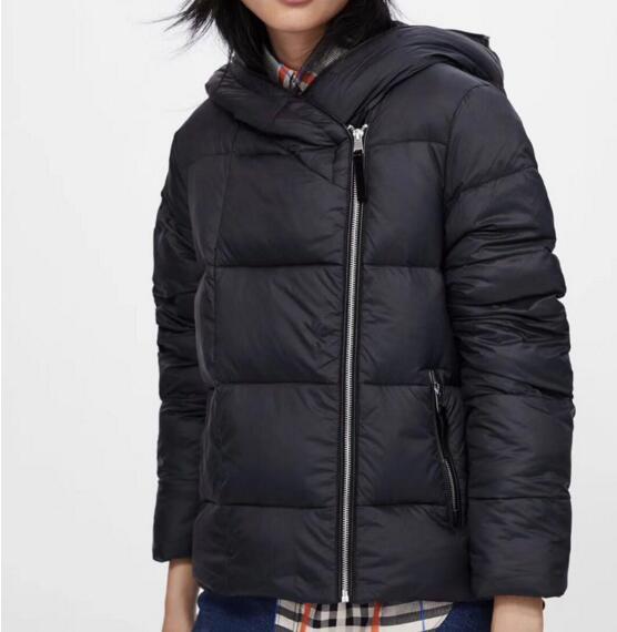 2019 Women winter black hooded zipper   parkas   warm duck down jackets