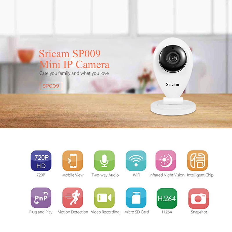 Sricam SP009 HD 720P Wireless IP Camera CCTV Wifi Video Surveillance Camera Home Security P2P Baby Monitor Indoor Camera sricam sp009c 720p hd motion detection wireless home security camera