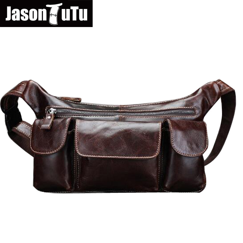 JASON TUTU 100% Guarantee Genuine Leather waist bag Multifunction crossbody bags Vintage shoulder bags for men sac a main HN62 jmd 100% guarantee genuine vintage leather women s tote shoulder bag for shopping 7271c
