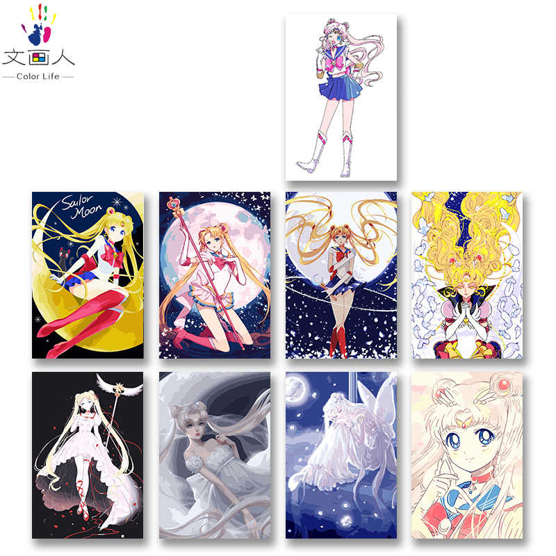 DIY colorings pictures by numbers with colors Sailor Moon Anime Moon goddess picture drawing painting by numbers framed Home