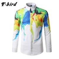 T Bird Shirt Men 3D Printing Long Sleeve Shirt Mens Casual Shirt Camisa Masculina Brand Fashion