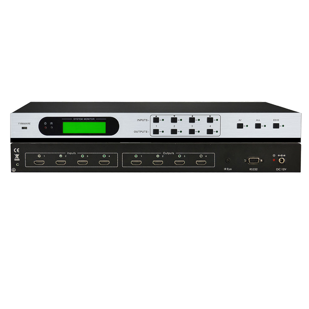 цена на Professional HDMI 4x4 Matrix Switcher Splitter with built-in EDID Management, HDCP, & RS-232 IR HDMI 4 in 4 out rack-mountable
