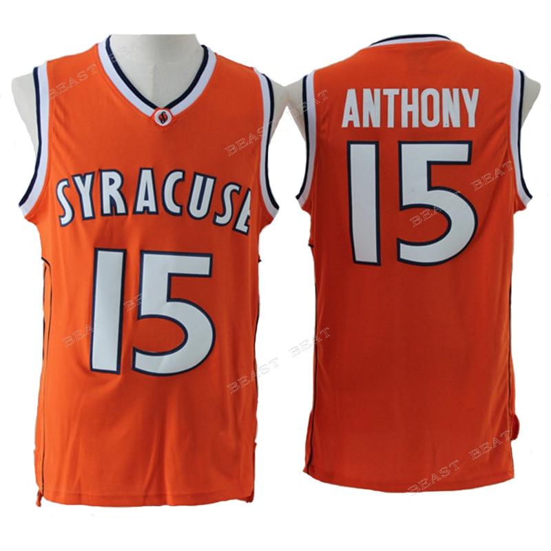 d3a62e3de00 Carmelo Anthony 15 Syracuse University Basketball Jerseys 2003 ncaa MOP  Orange Color Summer .