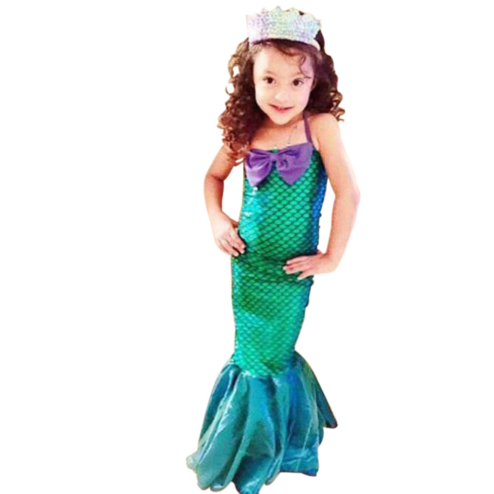 Fashion Summer Girls Princess Dresses Fishtail Kids Ariel Little Mermaid Dress Halloween Party Cosplay Costume NYZ Shop