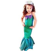 Fashion Summer Girls Princess Dresses Fishtail Kids Ariel Little Mermaid Dress Halloween Party