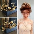 Bridal Gold Flower Leaf Simulated Pearl Tiara Wedding Hair Accessories Jewelry Korea Novia Casamento Acessorios Para Mulher