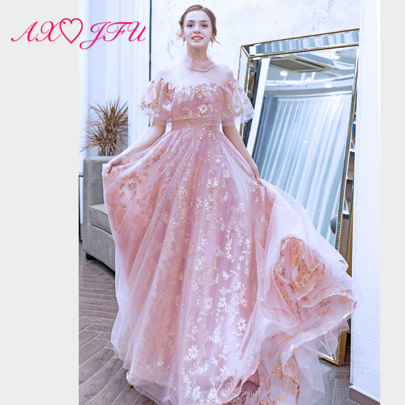 AXJFU princess pink lace   evening     dress   vintage party high neck ruffles illusion beach beading gold power   evening     dress   9062