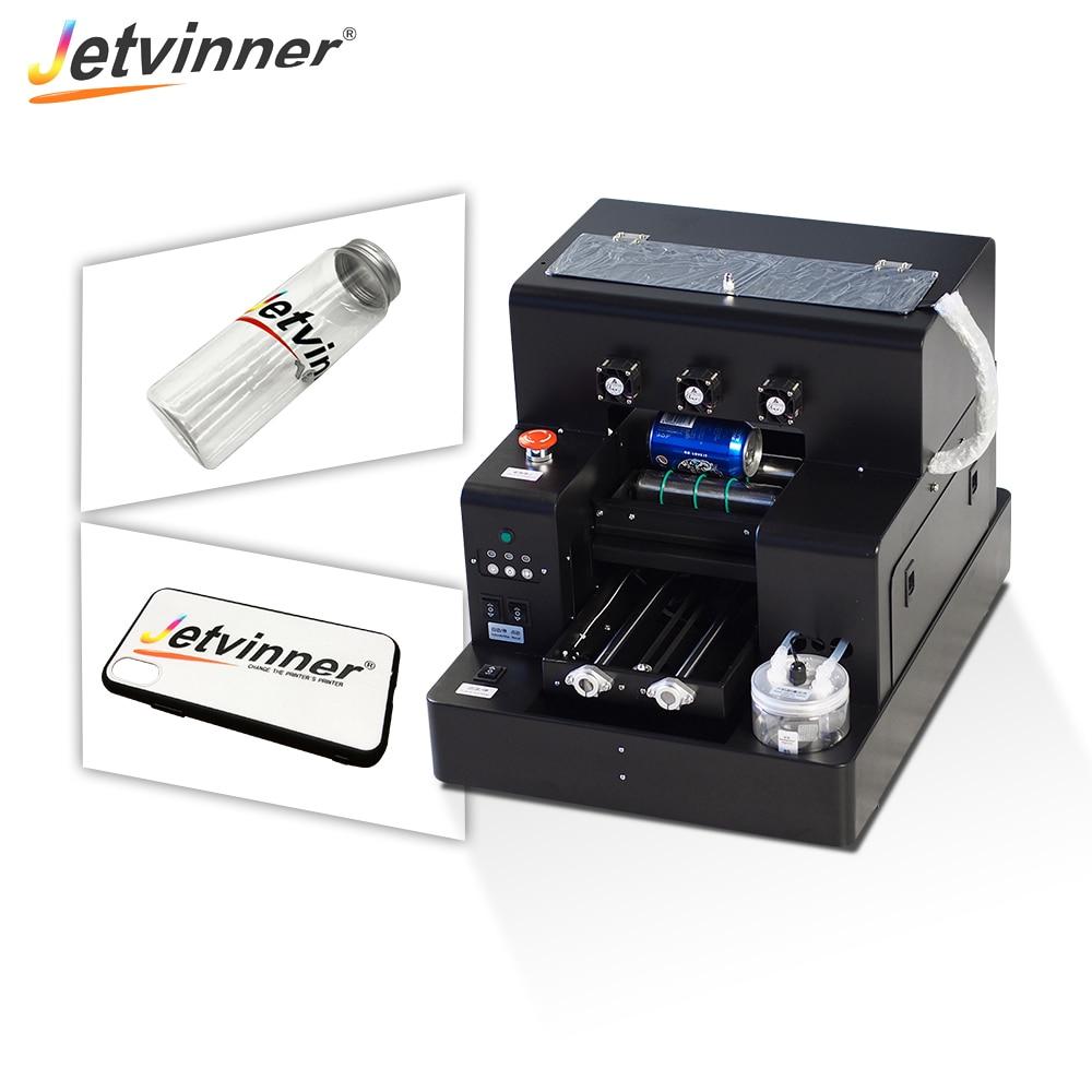 Jetvinner A4 tamanho pequeno LED UV Impressora com Garrafa suporte para Garrafa, Caixa Do Telefone, Metal, Madeira, acrílico, Vidro, TUP, PVC, Couro