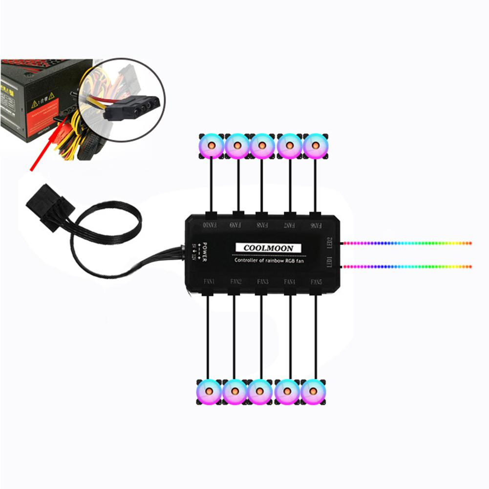 12V 33CFM 6pin RGB Colorful Light 12CM DC Computer Case Chassis Cooling Fan