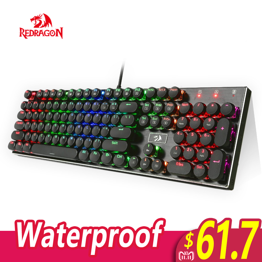 Redragon K556-RK RGB LED Backlit Mechanical Gaming Keyboard with Brown Switches 104 Anti-ghosting Standard Round keycap K556