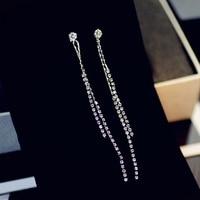 Silver color crystal long tassel earrings for women pendientes mujer moda, elegant drop earings fashion jewelry orecchini joias