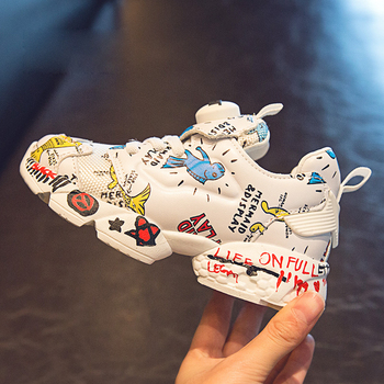 Spring New Kids Pu Leather Shoes Baby Girls Sport Sneakers Children Mesh Shoes Boys Fashion Casual Shoes Soft Brand Trainer 2019 4