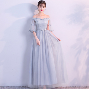 Image 2 - 섹시 플러스 사이즈 여성 우아한 더스티 블루 그레이 핑크 창백한 자주색 레이스 게스트 웨딩 파티 주니어 긴 들러리 드레스 vestidos 79