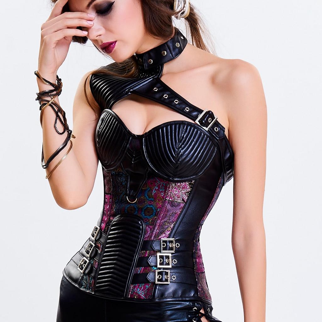 Retro Gothic Steampunk   Corset   Spiral Steel Boned   Corset   Women Burlesque Armor   Bustier   With Shoulder Bolero Corselet