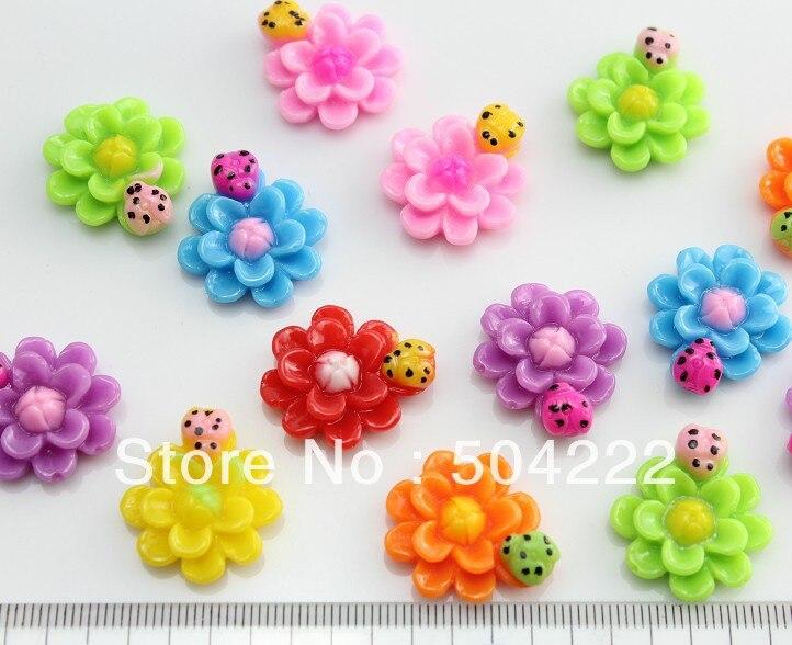 200 pcs kawaii polished polka dots ladybug on daisy Resin floral cameo gem flatback Cabochon cab mixed colors medium size D25