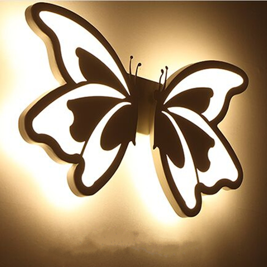 Butterfly bedside bedroom wall lamp creative aisle light modern creative balcony living room reading hotel wall lamp acrylic modern minimalist 9w led acrylic circular wall lights white living room bedroom bedside aisle creative ceiling lamp