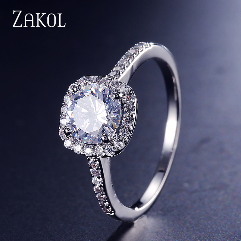 ZAKOL Round CZ Wedding Rings for Women Silver Color Jewelry Luxury Rings Engagement Square Bague Zirconia Accessories FSRP117