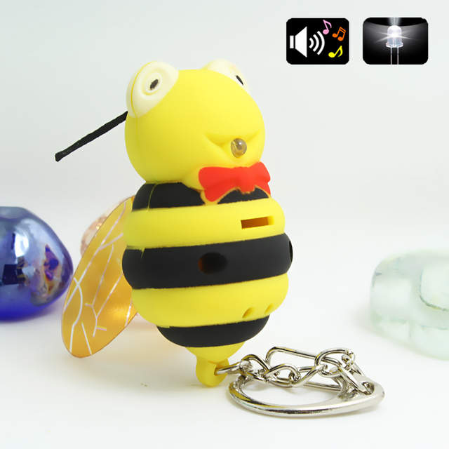New Arrival Lovely cartoon Bee Led Key chain pendant bumblebee with necktie  Luminous key ring Sound & Flashlight Funny gifts