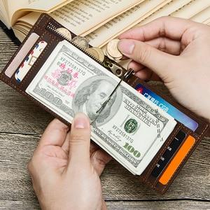 Image 4 - Kontakts skóra Crazy Horse mężczyźni portfel na pieniądze Rfid solidne męskie torebki z portmonetka na monety na zamek etui na karty wysokiej jakości