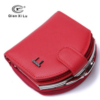 Fashion Genuine Leather Women Short Wallet Hasp Coin Pocket Female Card Holder Money Purse Ladies Small