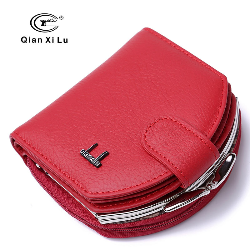 Fashion Genuine Leather Women Short Wallet Hasp Coin Pocket Female Card Holder Money Purse Ladies Small Brand Design Wallets Bag