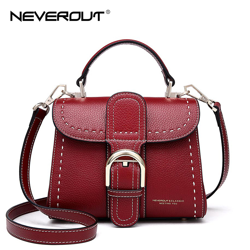 NeverOut 4 Color Women Genuine Leather Bag Solid Shoulder Sac Small Chic Handbags Crossbody Bags Fashion Handbag Messenger Bag neverout new crossbody handbag women messenger bag cover small flap bags fashion shoulder bags simply style genuine leather bag