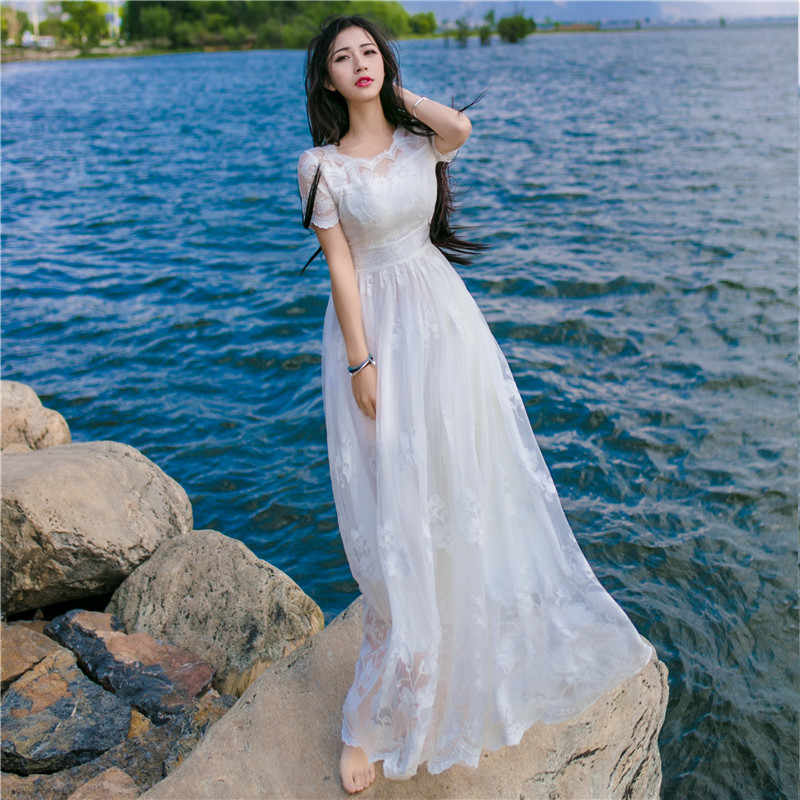 f40a418508 ... White Lace Crochet Dress Women Beach Wear 2019 Vintage O Neck Short  Sleeve Embroidery Hollow Out ...