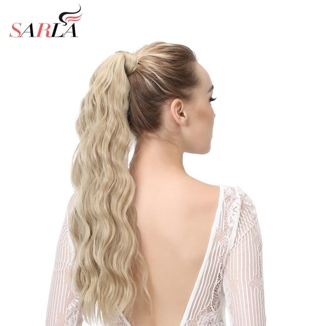 SARLA 22 ''extensiones de cola de caballo sintético recto rizado Clip-in cola de Pony extensión de cabello Natural piezas de cabello resistentes al calor p009