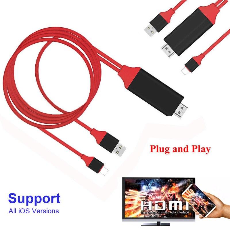 2 M Telefon zu TV HDMI Video Adapter Konverter Kabel Für iPad Pro Air Mini für iPhone XS MAX XR X 8 7 Plus 6 6 S 5 5 S zu TV HDTV