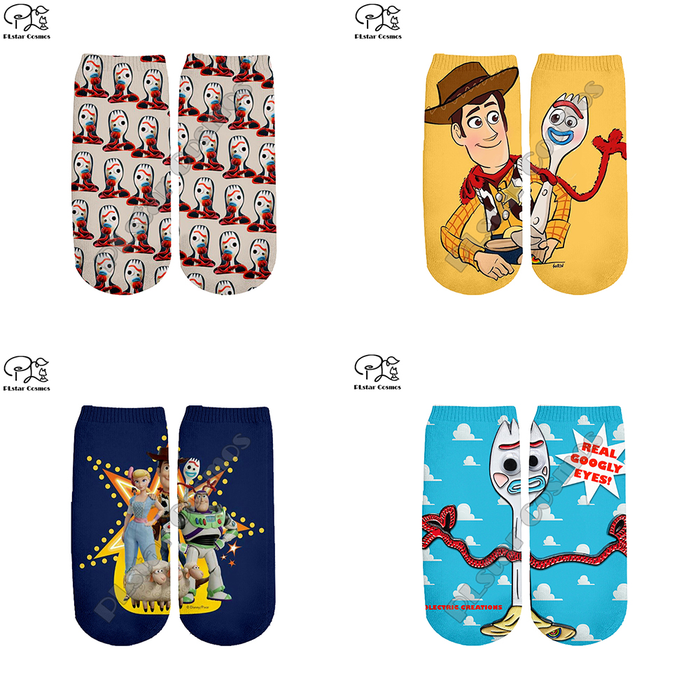 New Toy Story 3D Print Forky Socks Women/men Ankle Socks Cartoon Woody Buzz Lightyear Harajuku Anime Socks For Teens Child