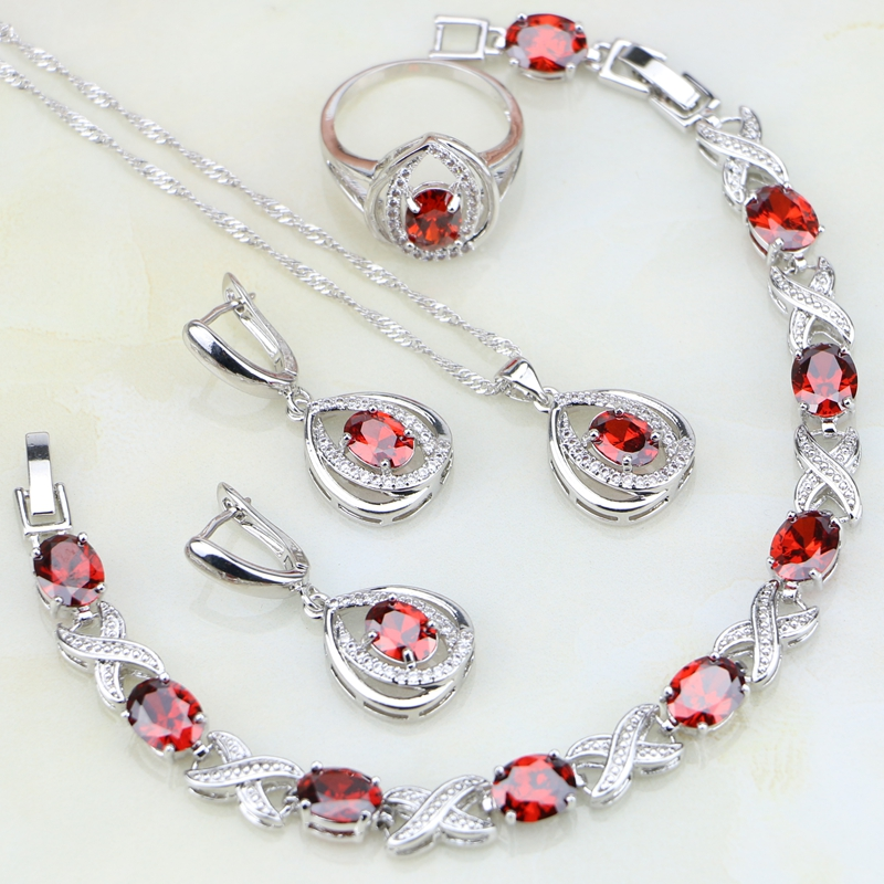 Egg Shaped Red Garnet Stones White CZ 925 Silver Jewelry Sets For Women Wedding Earrings/Pendant/Necklace/Bracelet/Ring a suit of elegant red rhinestone bamboo necklace bracelet ring and earrings for women