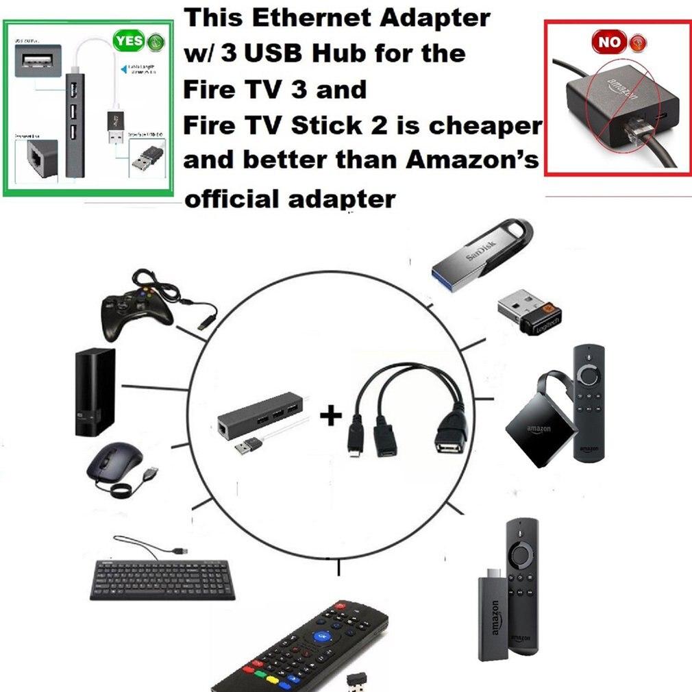 LAN Ethernet USB 2.0 to RJ45 Adapter Converter for Amazon Fire TV 3 Stick Gen 2