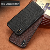 Luxury Genuine Leather Phone case For iPhone X 6 6S 7 8 Plus 5 5S SE back cover Real Crocodile Leather soft shell all inclusiv