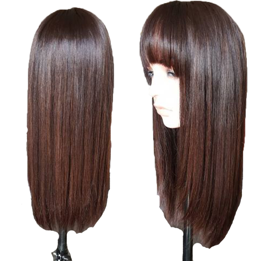 Eversilky Human-Hair-Wigs Lace-Frontal Straight with Bangs for Black Women Brazilian title=
