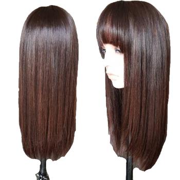 Eversilky podkreśla 4 360 koronki Frontal ludzki włos peruki z grzywką dla czarnych kobiet brazylijski prosto koronkowa peruka na przód Remy włosy tanie i dobre opinie Proste Brazylijski włosy Średnia wielkość Średni brąz Ciemniejszy kolor tylko Swiss koronki 360 Lace Frontal Wig Medium Brown(Light Brown Dark Brown)