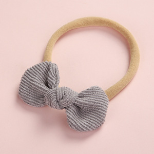 Image 4 - 20 pcs/lot, Soft Corduroy Knot Bow Nylon Headbands or hair clips, baby shower gift