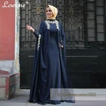 Marineblau Kaftans Langen Ärmeln Hijab Abendkleid mit Spitze Appliques Lange Abendkleider Saudi Arabischen Kleid Türkei Abendkleid
