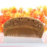 2 шт. свинины расчёски и гребни для волос натуральный зеленый сандалового дерева очень узкие зубы гребень без статического вши борода