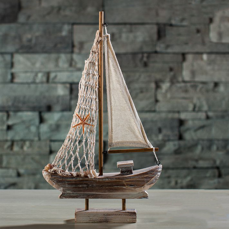 New Home Furnishing Mediterranean Retro Sailing Wooden Boats Model Ornament Room Decoration Accessoriess Sailing Boat Kids Gift