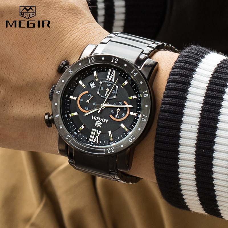 <font><b>MEGIR</b></font> <font><b>2020</b></font> Watch Men Fashion Sport Quartz Mens Watches Waterproof Full Steel Business Chronograph Date Male Relogio Masculino image