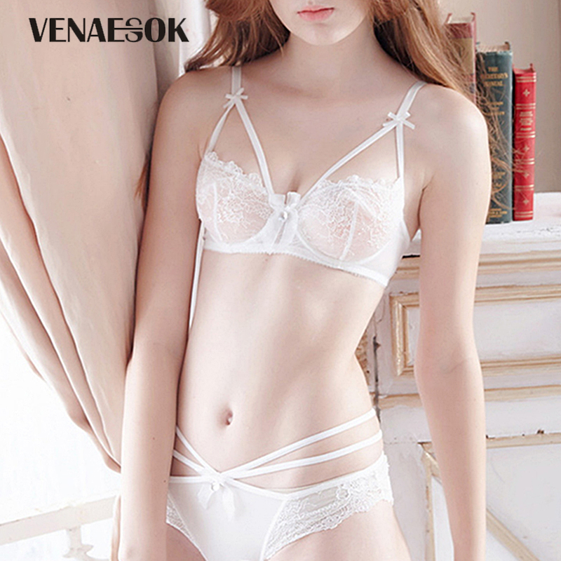 53952cc435 Young Girl Sexy Bra and Panties Sets White Embroidery Lace Lingerie Set See  Through Bras Bandage Hollow Out Underwear Women Set-in Bra   Brief Sets from  ...