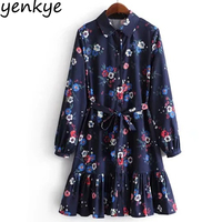 New 2018 Women Floral Printed Navy Blue Shirt Dresses Vintage Long Sleeve Turn Down Collar With