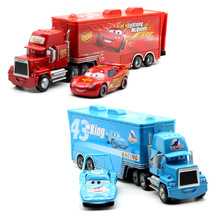 Disney Pixar Cars 2 Toys 2pcs Lightning McQueen Mack Truck King 1:55 Diecast Metal Alloy Modle Figures Toys Gifts For Kids
