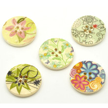 300Pcs Wood Sewing Buttons 4 Holes Round Wooden Multicolor Pattern DIY Crafts Scrapbook Making 25mm