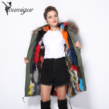 YOUMIGUE New Winter Women Warm Natural Fur Liner Coat Detachable Long Parka Outwear With Real Raccoon Fur Trim Hood Plus Size